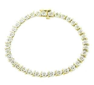Estate 2 Tone 14kt Gold Diamond Bracelet