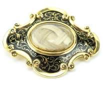 Impressive C 1858 14kt Gold Enamel Mourning Brooch