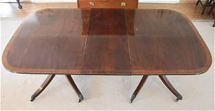 George III Mahogany Banded Pedestal Dining Table