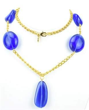 Kenneth Jay Lane Gilt Metal & Blue Bead Necklace