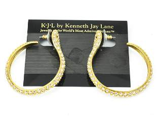 Pair KJL Gilt Metal & Rhinestone Snake Earrings