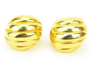 Pair KJL Ribbed Gilt Metal Clip Earrings
