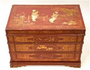 Asian Red Lacquer Hand Painted Jewelry Box