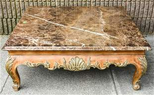 French Rococo Carved Marble Top Coffee Table