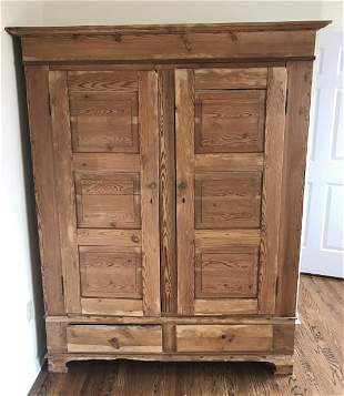 Antique 19th C Country Pine Armoire Cupboard