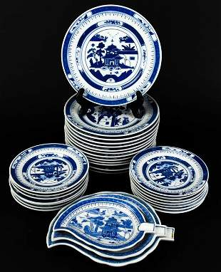 Assorted Chinese Canton Blue & White China