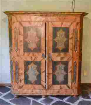 Antique C 1800 Austrian Hand Painted Armoire