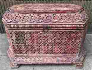 Antique Carved Indian Rosewood Hope / Dowry Chest