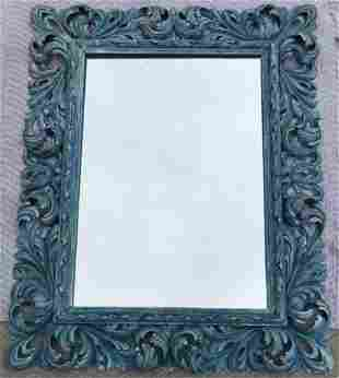 Carved Wood Rococo Style Acanthus Leaf Mirror