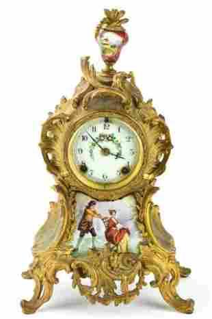 Antique French Rococo Style Ormolu Mount Clock