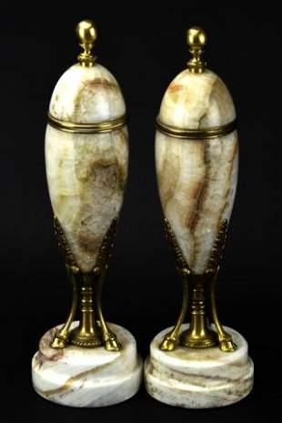 Pair Antique Neo Classical Marble Cassolettes Urns