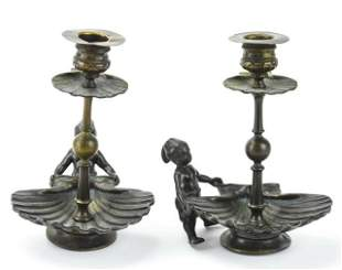 Pair Antique Bronze Blackamoor & Shell Candlestick