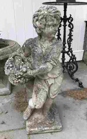 Antique Cast Stone Garden Statue Boy w Basket