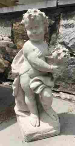 Antique Cast Stone Garden Statue of a Cherub