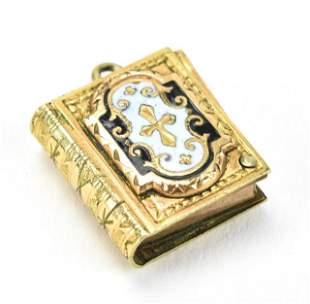 Antique 19th C Gold & Enamel Book Form Locket