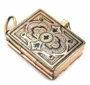 Antique 19th C 10k Gold & Enamel Book Form Locket