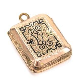 Antique 19th C 10k Gold Locket w Accordion Foldout