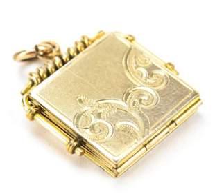 Antique 19th C 10kt Gold Locket Necklace Pendant