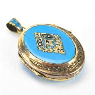 Antique 19th C 14kt Gold & Enamel Locket Pendant