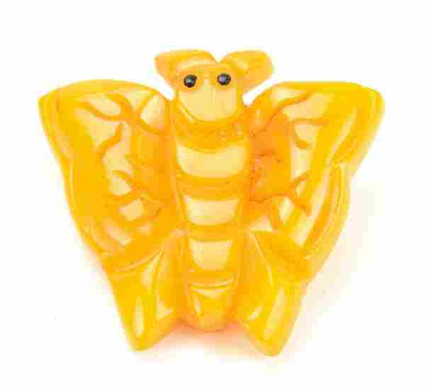 Vintage Mid Century Carved Bakelite Butterfly Pin