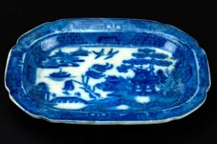 Antique English Blue Willow Porcelain Platter