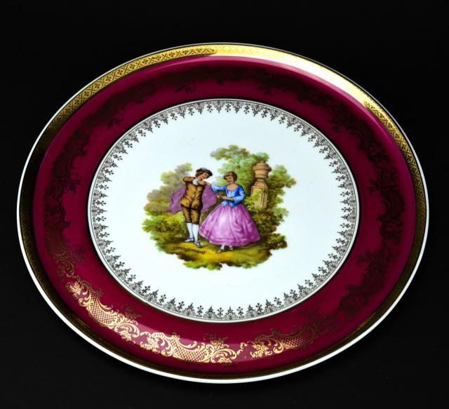Limoges France Round Serving Platter w Court Scene