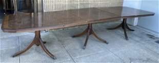 Sheraton Crotch Mahogany Pedestal Dining Table