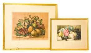 Pair Antique Currier & Ives Fruit Lithographs