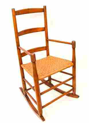 Antique Shaker Ladder Back Woven Rocking Chair