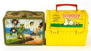 Vintage GI Joe & Snoopy Lunch Boxes & Thermos