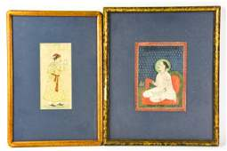 2 Antique 19th C Indo Persia Watercolor Paintings