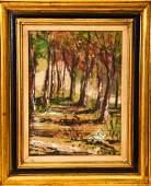 Gilt Framed Autumn Forest Scene Oil Painting