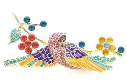 Costume Jewelry Hummingbird Rhinestone Brooch