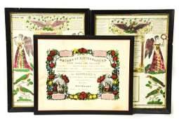 3 Antique Framed Birth & Baptism Certificates