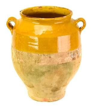 Antique French Confit Pot W Ochre Glaze