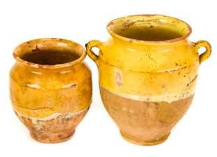 Two Antique French Confit Pots W Ochre Glaze