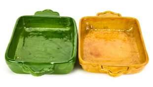 2 Mustard & Green Glazed Serving / Baking Trays