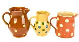 Antique Ceramic Polka Dot Glazed Pitchers