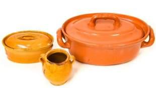 3 Vintage Ochre Ceramic Tureens + Confit Jar