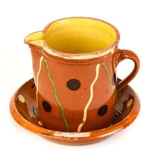 Artisan Made Ceramic Polka Dot Pitcher Under Plate