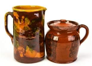 Ceramic Drip Glazed & Redware Manganese Pitchers