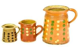 Collection Ceramic Polka Dot Glazed Pitchers
