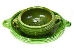 Two Antique Green Salt Glazed Ceramic Colanders