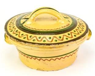 Antique Ceramic Slipware Casserole Dish