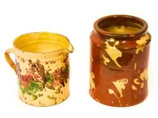 Antique Jar & Jug Drip Glazed Coil Pottery