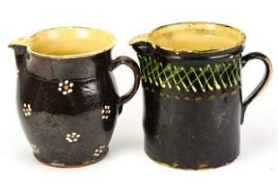 Two Vintage Brown Salt Glazed Ceramic Jugs