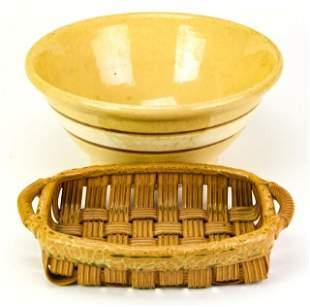 Vintage Yellow Ware Bowl & USA Made Ceramic Basket