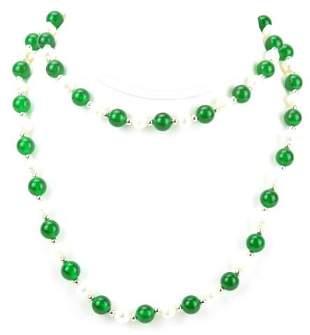 Nephrite Jade & Baroque Pearl Necklace Strand