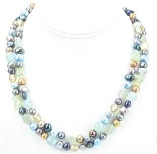 Double Strand Baroque Pearl & Rose Quartz Necklace