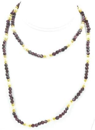 Antique Hand Faceted Spinel Baroque Pearl Necklace